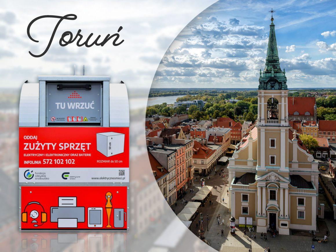 33 czerwone pojemniki na małą elektronikę na osiedlach Torunia
